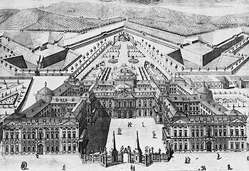 Picture: Residence with cour d'honneur gates (engraving, 1757)